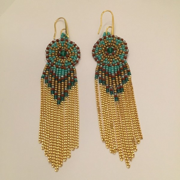 Dreamcatcher Circular Rondelle and Chain tassle earrings turqoise/gold