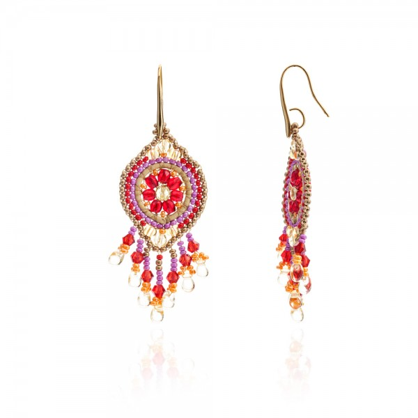 Dreamcatcher circular earrings - Pink/Orange/Red