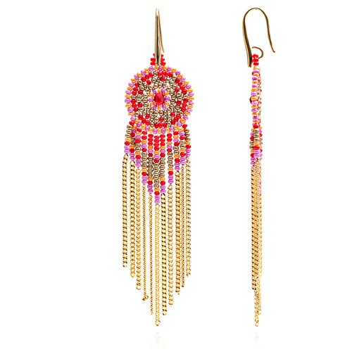 Dreamcatcher Circular Rondelle and Chain tassle earrings - Pink/Orange/Red