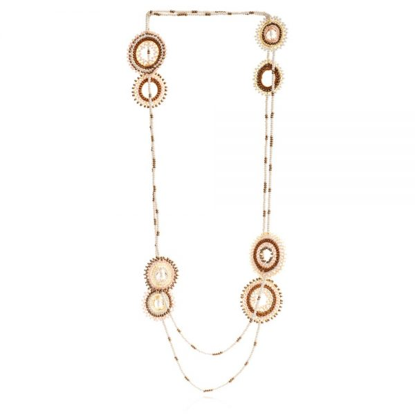 Dreamcatcher Olmec Necklace Cream Bronze