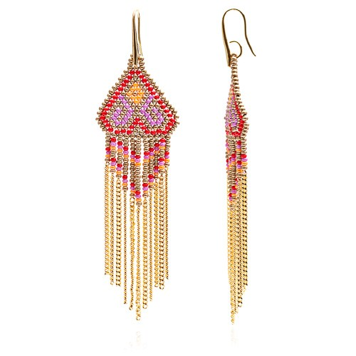 Dreamcatcher Chevron Earrings with chain red/orange