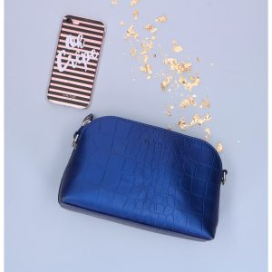 42BAG Small Shiny Croco blauw