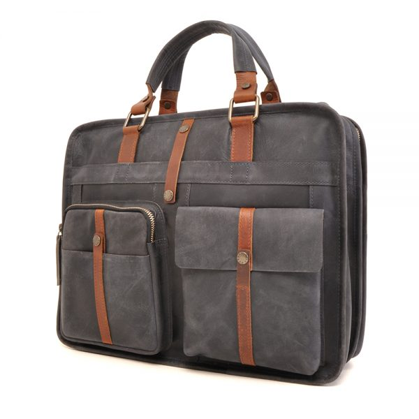 826-131 Leren laptoptas Barbarossa navy